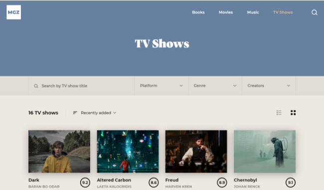 Categories TV Shows screenshot